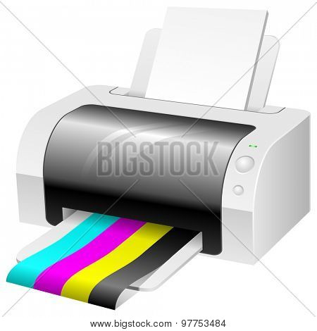 Modern color printer with CMYK colored paper.