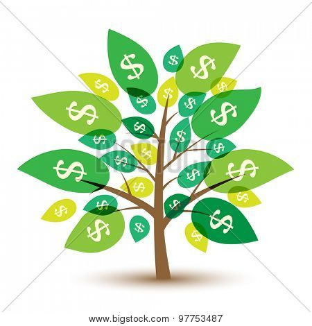 Icon money tree with leaves in dollars. Illustration.