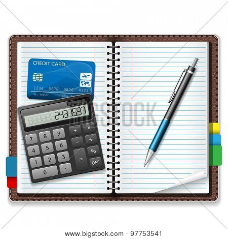 Calculator, pen, notebook, a credit card on a white background. Illustration