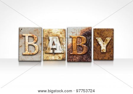 Baby Letterpress Concept Isolated On White