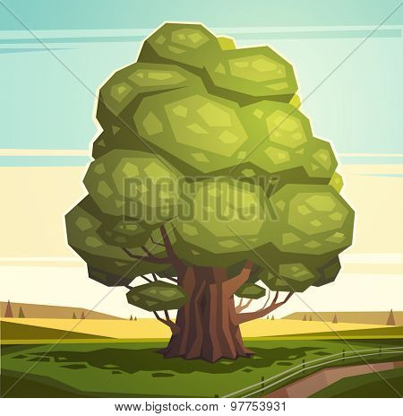 Old oak tree. Vector illustration.