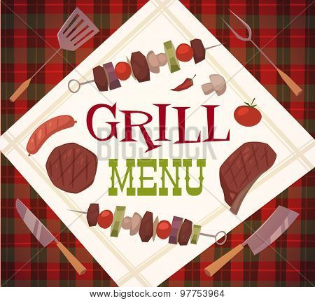 Grill menu. Vector illustration.