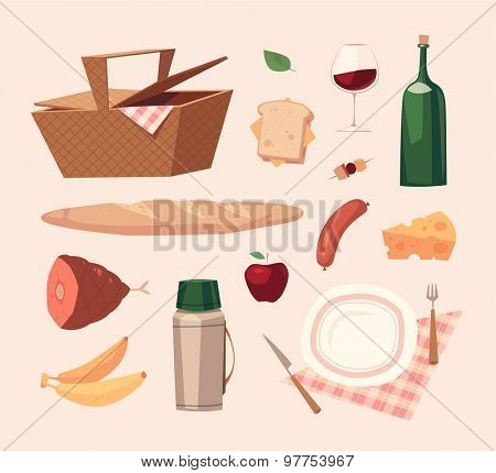 Picnic objects. Vector illustration.