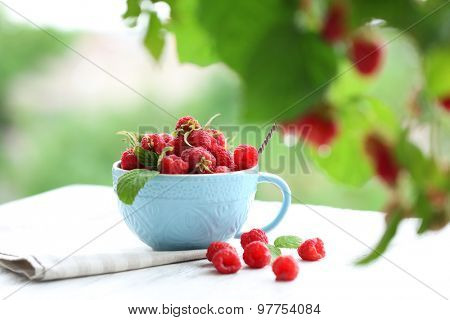 Fresh raspberries in cup on wooden table on blurred nature background