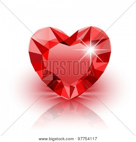 Icon red Diamond Heart for Valentine on white background. Illustration.