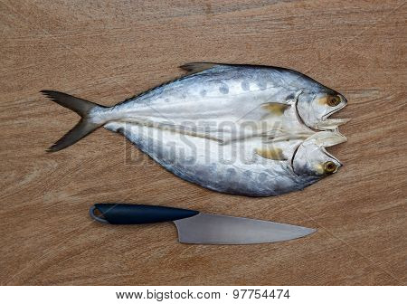 Fresh Fish Cut On Wooden Background