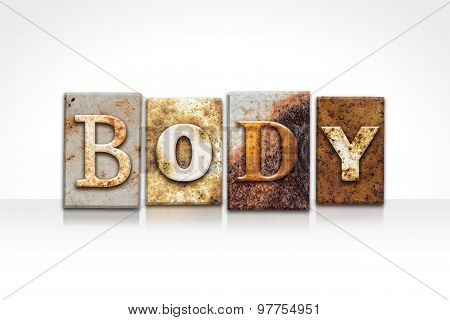 Body Letterpress Concept Isolated On White