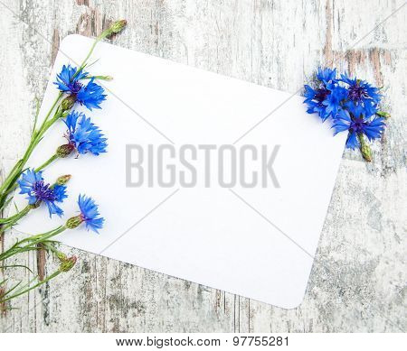 Cornflowers And White Card