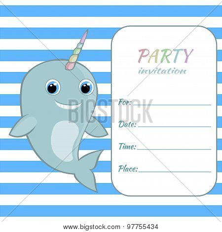 Children birthday party invitation card template Baby narwhal with rainbow horn