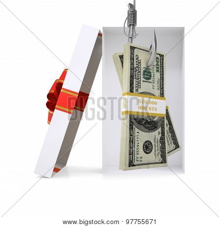Bundle of money in gift box on white