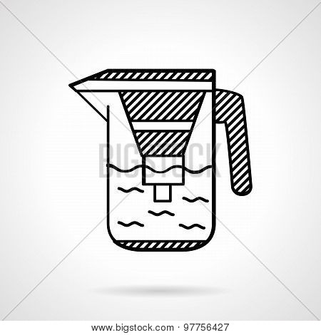 Filter jug flat line vector icon