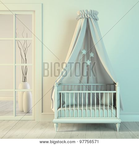 Part of classic interior children's room 3D rendering