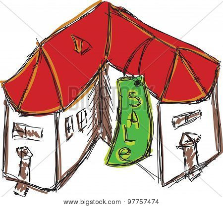Drawn colored house with red roof for sale