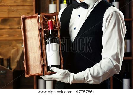 Bartender working on bar background