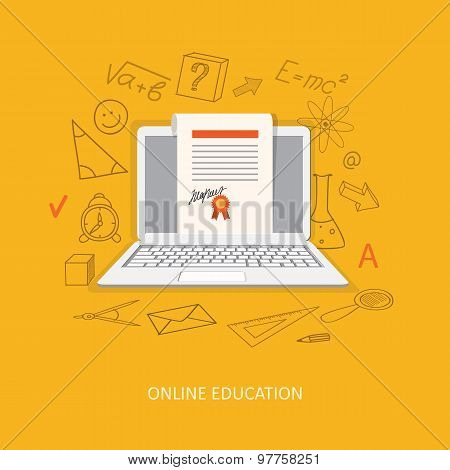 Flat Design  For Online Education