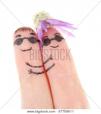 Fingers with funny smiles, isolated on white