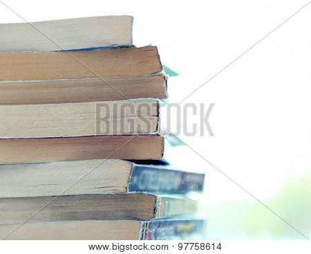 Books on windowsill, close up