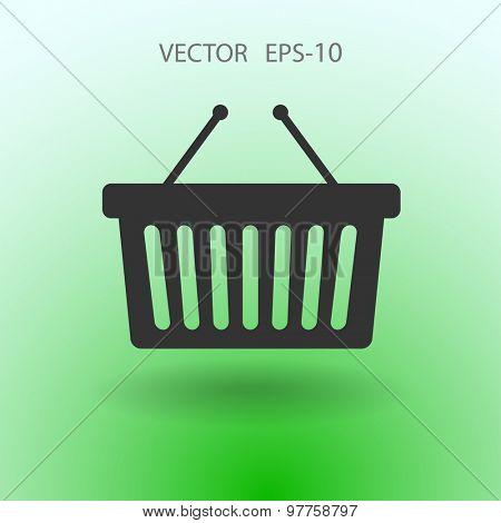 Flat  icon of shopping basket
