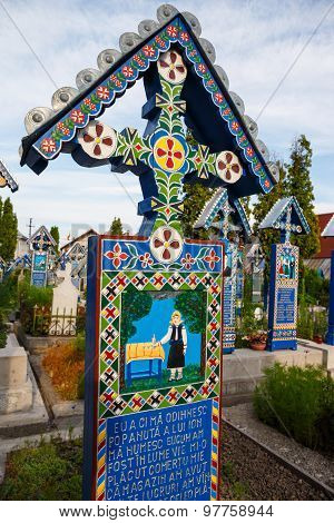 The merry cemetery of Sapanta Maramures Romania.