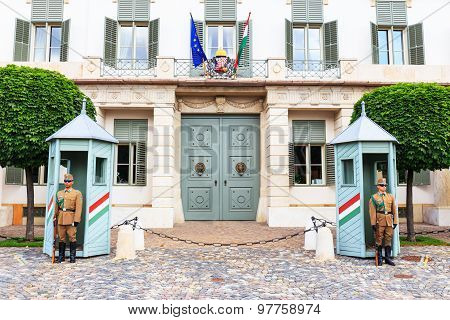 Budapest, Hungary - July 24, 2014 : Ceremonial Guard At The Presidential Palace.