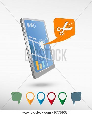 Scissors Icon With Cut Lines And Perspective Smartphone Vector Realistic