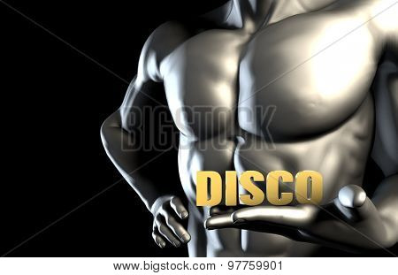 Disco Music With a Man Holding Up as Concept