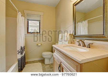 Simplistic Bathroom With Decorative Shower Curtain.