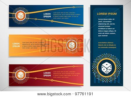Gambling Dice Vector Icon  On Modern Abstract Flyer, Banner, Brochure Design Template