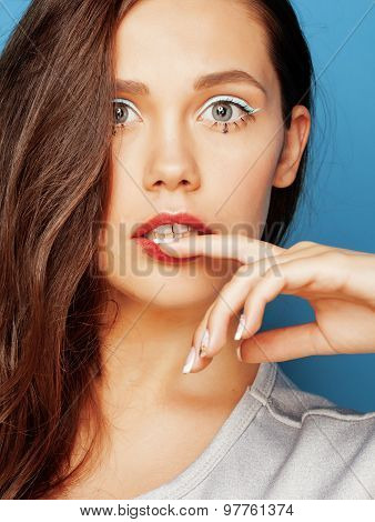young pretty adorable woman with candy close up like doll