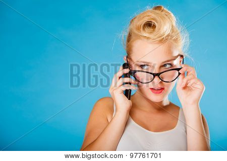 Pin Up Retro Gril With Glasses And Phone.