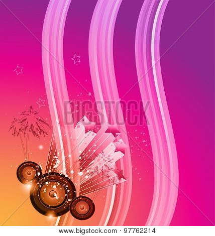 Disco club flyer with a lot of abstract colorful design elements. Ideal for poster,flyers and music.