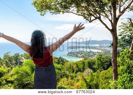 Woman Tourist Happy Gestures On High Scenic View