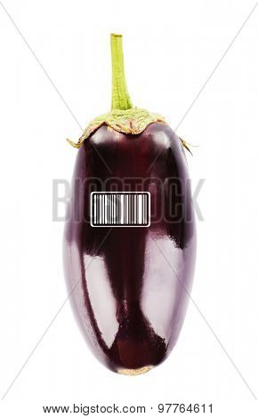 Fresh eggplant with barcode isolated on white