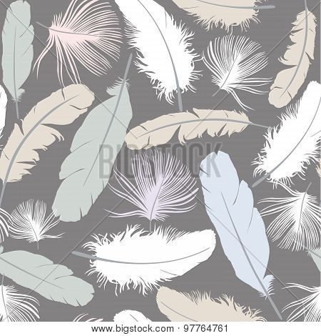 Abstract seamless pattern with feathers.