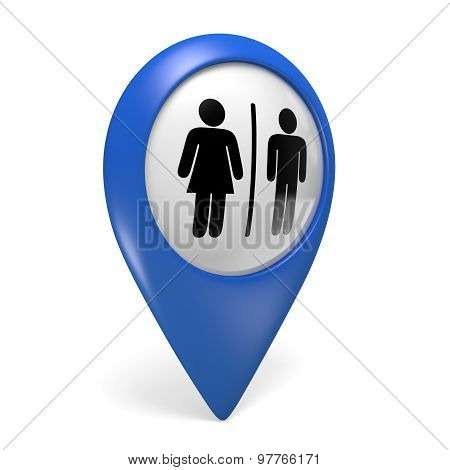 Blue map pointer 3D icon with male and female gender symbols for restrooms