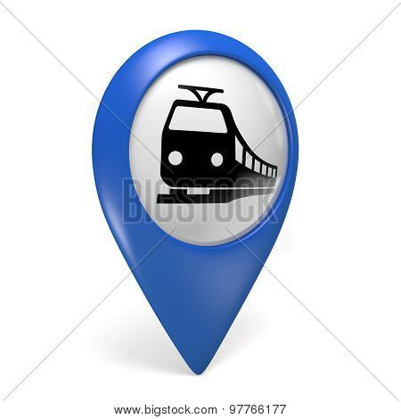 Blue map pointer 3D icon with a train symbol for railway stations