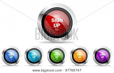 sign up original modern design colorful icons set for web and mobile app on white background