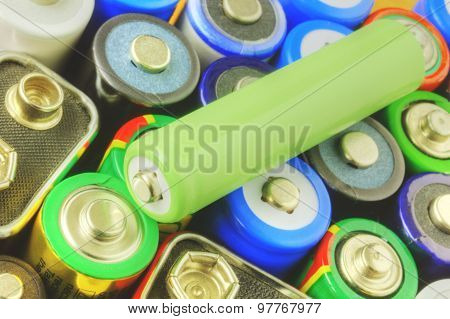 Collection of different batteries closeup