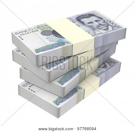 Colombian pesos money isolated on white background. Computer generated 3D photo rendering.