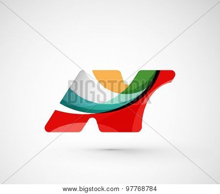 Abstract geometric company logo N letter.  illustration of universal shape concept made of various wave overlapping elements