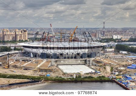 Top View Of Construction Site Sports Facility, Modern Football Stadium
