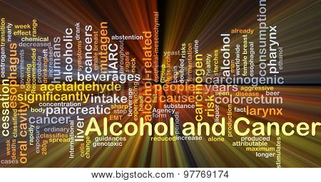 Background concept wordcloud illustration of alcohol and cancer glowing light