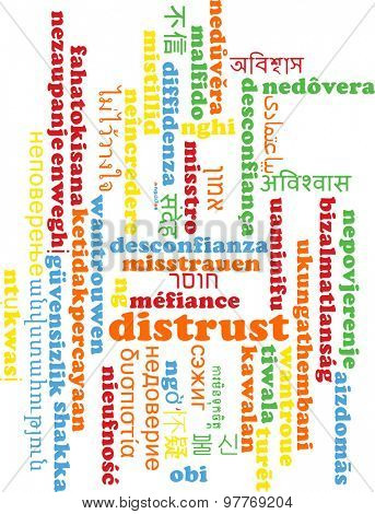 Background concept wordcloud multilanguage international many language illustration of distrust