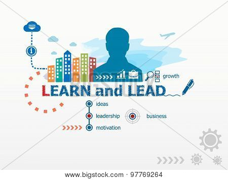 Learn And Lead Concept And Business Man.