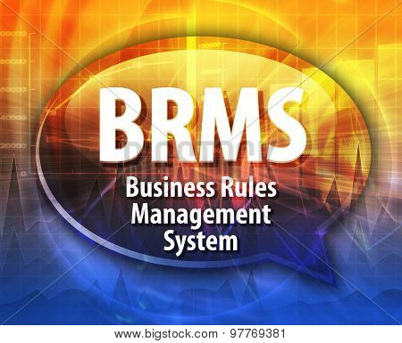 Speech bubble illustration of information technology acronym abbreviation term definition BRM Business Rules Management System