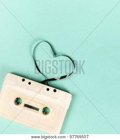 Retro, vintage. Cassette on the table