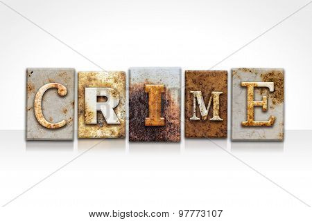 Crime Letterpress Concept Isolated On White