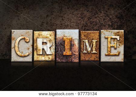 Crime Letterpress Concept On Dark Background
