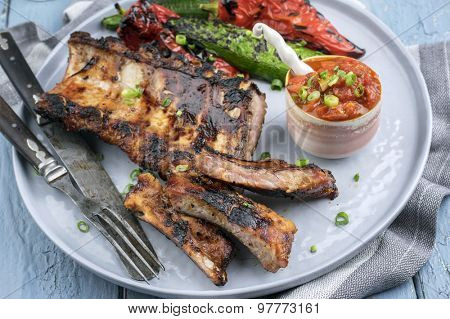 Spare Ribs on Plate