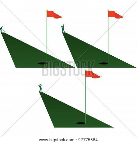 A set of icons for the game of golf. The illustration on a white background.